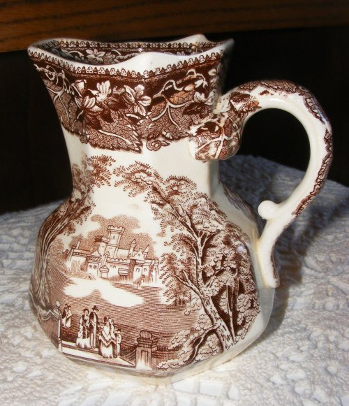 Brown Transferware Pitcher